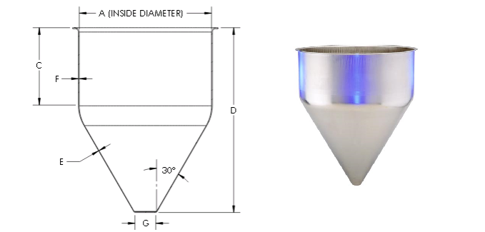 Stainless Steel Seamless Hopper Cone Funnel With CAD Graphic