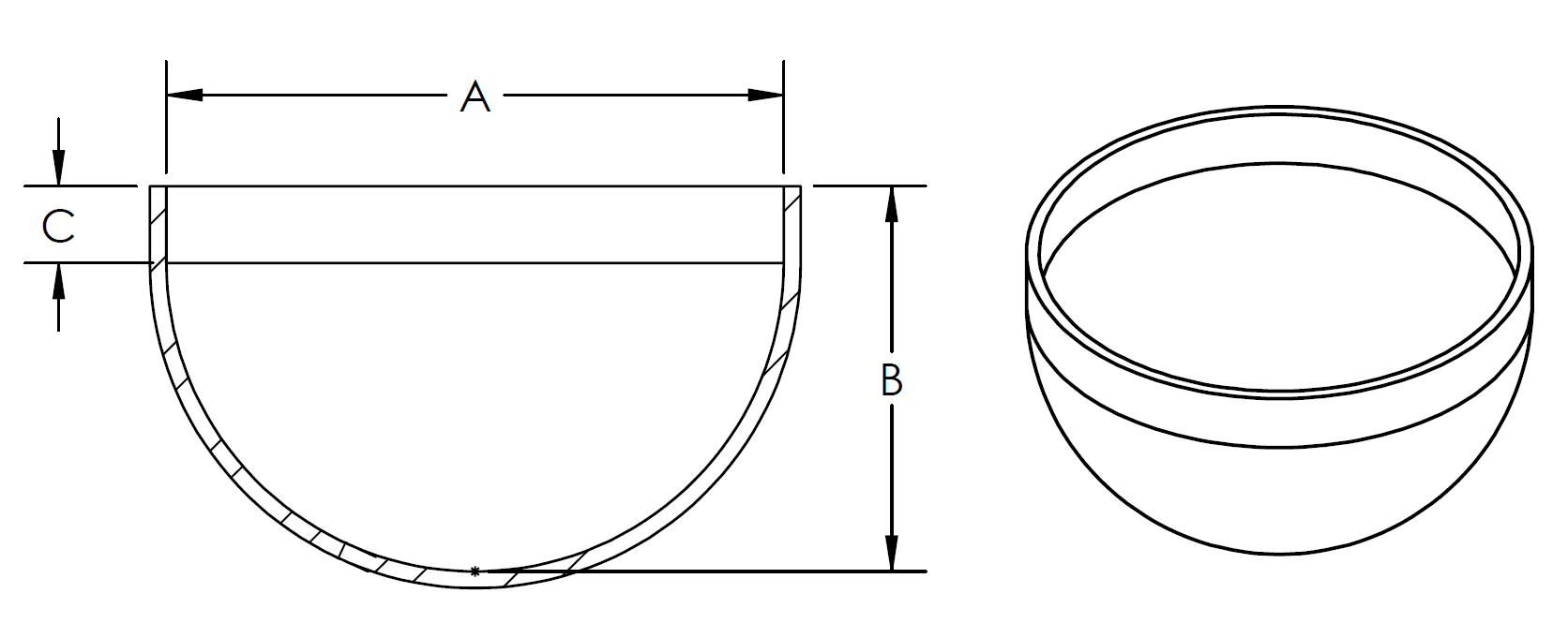 Hemi with straight wall cad graphic